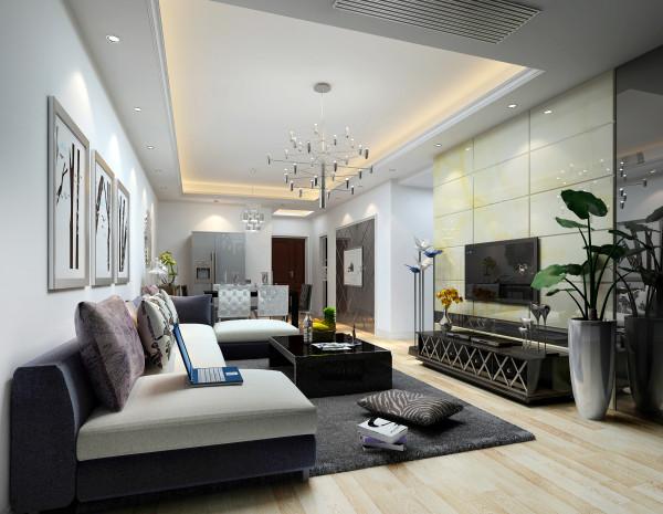 客厅--黑白灰的色彩为主调,配以白灰系的布艺沙发和灯饰,尽显舒适和优雅。微晶玉和灰镜相结合的电视背景尽显大方及现代感,灰色的毛毯体现出浪漫唯美的情感,调色色的靠 垫则闪烁着时尚的节拍。