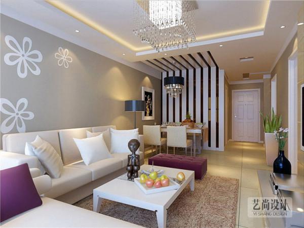 郑州财信圣提亚纳两室两厅现代简约装修案例---客厅装修效果图