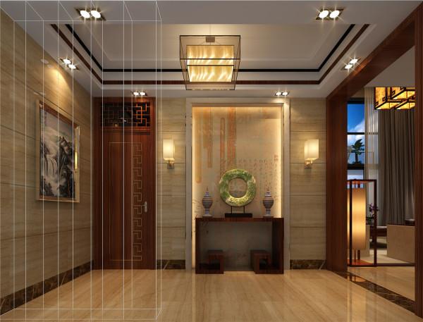 入门处玄关用镂空花雕做装饰,结合柔和灯色,突出了本案的设计理念,新中式并非完全意义上的复古明清,而是通过中式古典元素,表达对清雅含蓄、端庄丰华的东方精神意蕴境界的追求。