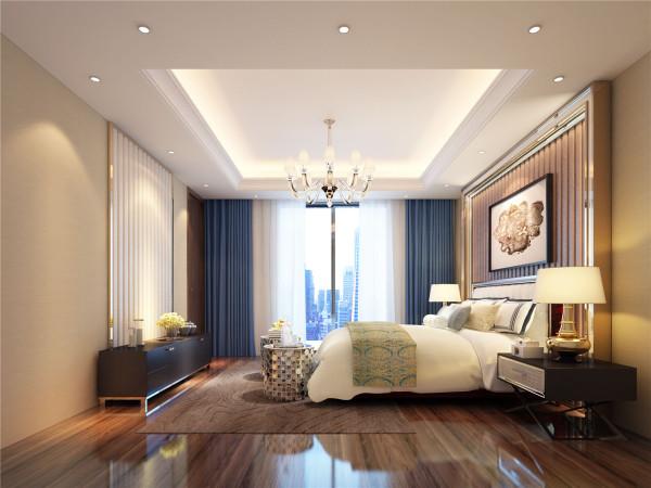 主卧室兼备豪华、优雅、和谐、舒适、浪漫的特点,设计上追求空间变化的连续性和形体变化的层次感,色彩华丽且用暖色调加以协调,更适应现代生活的休闲与舒适。