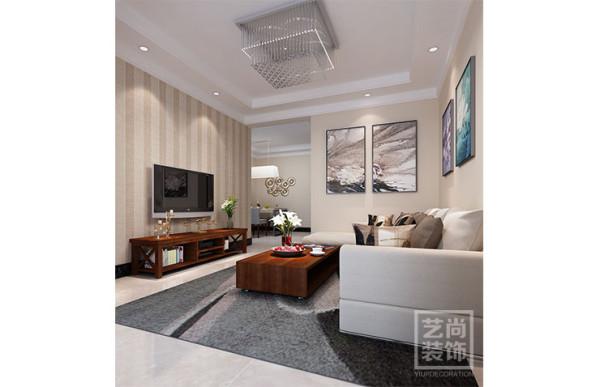 祝福红城77.49平方两室两厅装修效果图--客厅