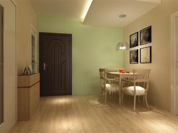 在餐厅位置上,因为餐桌的位置不是在餐厅的中间位置,所以在顶面石膏板造型上采用的是中间突出,其他地方原墙涂刷乳胶漆 的方式,在顶面的设计上区分餐厅的位置。