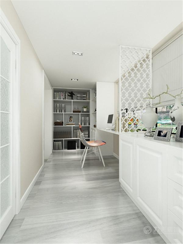 露台分为两部分外面是鞋柜,里面是书房的位置,家具都是白色的,看上去比较干净利落,