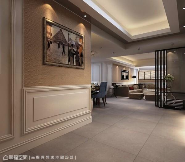 设计师将于客厅墙侧增设雷射锻铁格屏,重新定义玄关空间。(此为3D合成示意图)