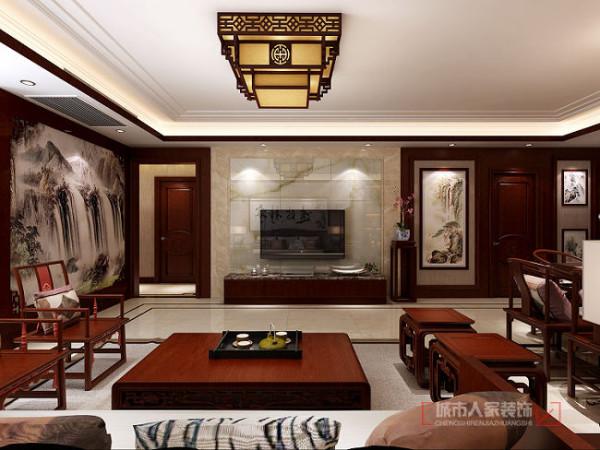 电视墙和沙发墙的造型以护墙板和石材搭配.