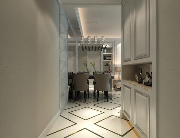 玄关位置的设计效果展示,进门后右侧为鞋柜的整体设计效果展示。