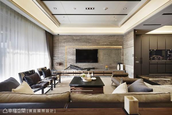 运用再生材质的岩板作为底板,以及普罗旺斯洞石的层层堆栈,突显电视主墙的层次美感。