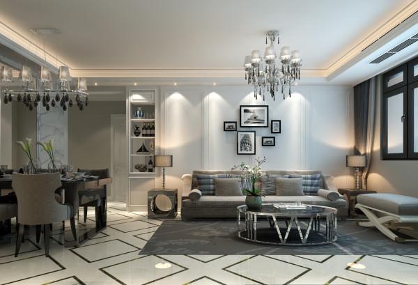 客厅墙面的岩石纹理瓷砖在黑白灰的衬托下更能彰显品质。