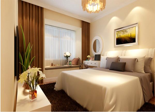 设计空间合理简洁,梳妆台放在床边,可以在梳妆和化妆等方便明度照射,飘窗设计简洁,可以便于看书或休息,晒太阳。