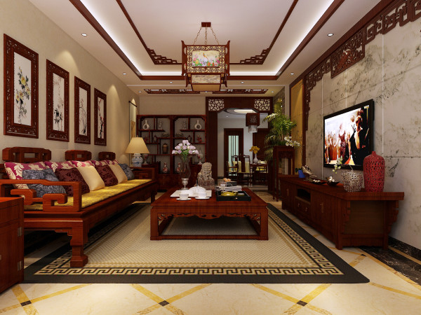 新中式风格以符合现代人的生活习惯的室内居住空间现实舒适的居住生活。在室内色彩方面,本案以琉璃黄、玉脂白、水墨黑和木原色来打造新中式的气氛。