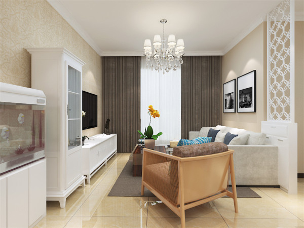 在客厅的设计中我们采用了米色与白色相结合,客厅的背景墙一面我们放置了观赏鱼缸,在极具观赏的同时增大了储物空间。电视背景墙没有过多的装饰,显得更简洁,在沙发的位置,