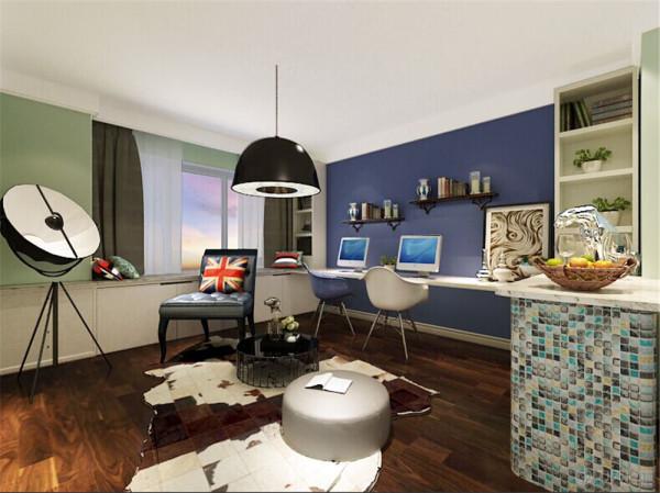 在客厅的设计中,没有电视背景墙的造型设计,只是简单的做了照片墙,上面挂满具有现代风格的照片,整体色调采用深蓝和粉绿色,让整个空间看起来很有现代感。