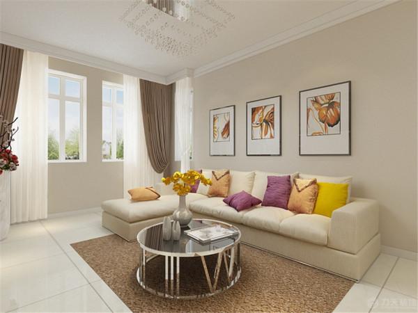 客厅在家具配置上,黄色的布艺沙发,与紫色抱枕的搭配,使家具倍感时尚,具有舒适与美观并存的享受。