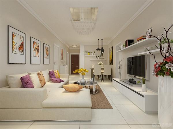 沙发背景墙上的挂画很好的表现出强烈的现代感与时尚的活力,电视背景墙利用隔板来装饰墙面,使得不过于单调。