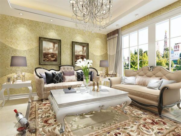 本案在设计上首先从客厅着重表现,客厅的背景墙制作是运用了欧式石膏板加深木色材质,再加欧式壁纸的嵌入式,造型而成的欧式风格电视背景墙,再配以黑色现代的柜子电视,使得整体具有古典欧式风又不乏现代的大气。