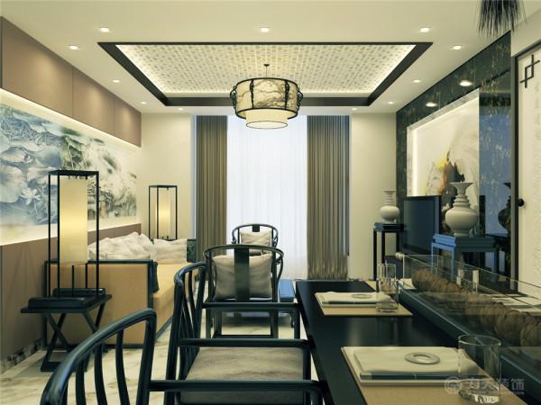电视背景墙采用黑色金花大理石、灯带、水墨。富有层次 ,并与沙发背景墙交相呼应。客厅吊顶为回字形与餐厅为一体用实木包口加强层次感。