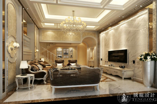 圣得恒业花园300平别墅装修欧式风格设计参考方案展示,腾龙设计师祝炯作品,欢迎品鉴!