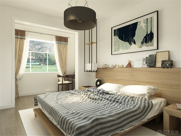 卧室墙面是白色的乳胶漆,地面是浅色的木地板,床选择了比较现代的木质床,后面可以储物,阳台放了书桌和衣柜。房间总体来说设计的比较简单,但是看上去比较大方。