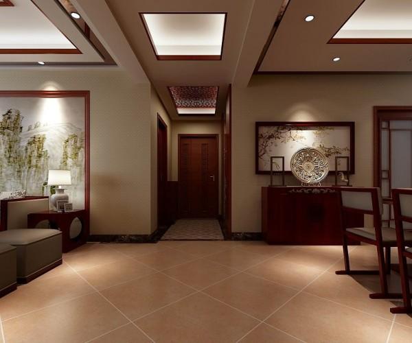 在走廊上设计吊顶不仅可以把梁隐藏起来使整个空间看着简洁,还可以将餐厅与客厅两个功能区分隔开。