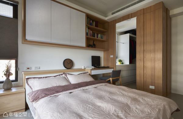 上砚空间建筑结合更衣室、主卧卫浴,创造出二进式空间设计,为男女主人带来完善的生活机能。