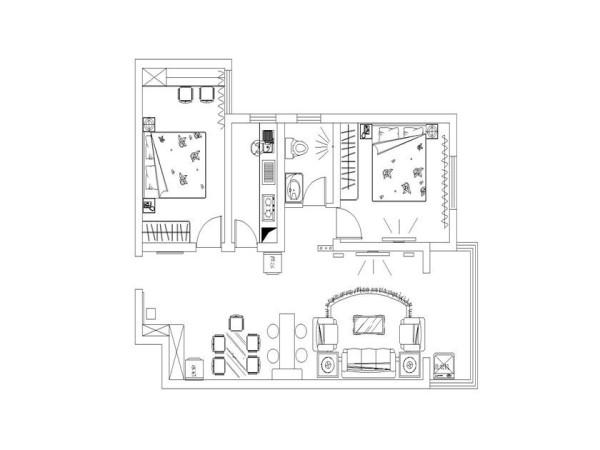 清华大溪地89平现代简约装修-户型图