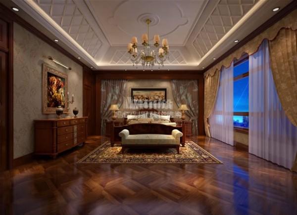 主卧的家具都是传统的美式风格,主卫被设计师附在卧室中隐藏了起来,使卧室看起来更加整洁。
