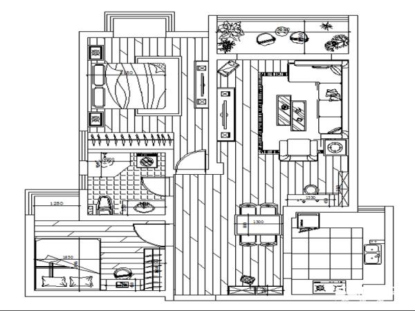 海马公园90平两居简约风情设计-户型图