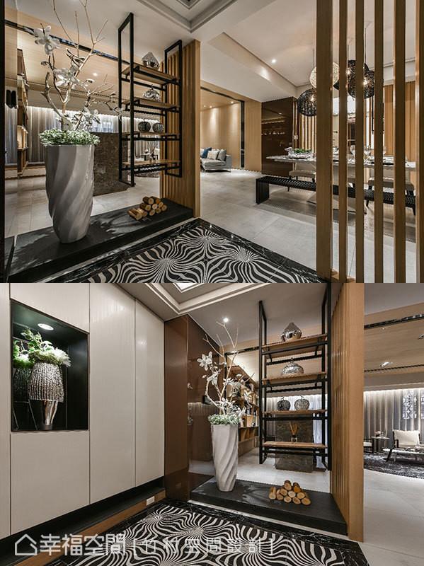 鞋柜结合灯光与植栽带来端景效果,再以格栅和悬浮柜体围塑出如日式设计的风雅余韵。