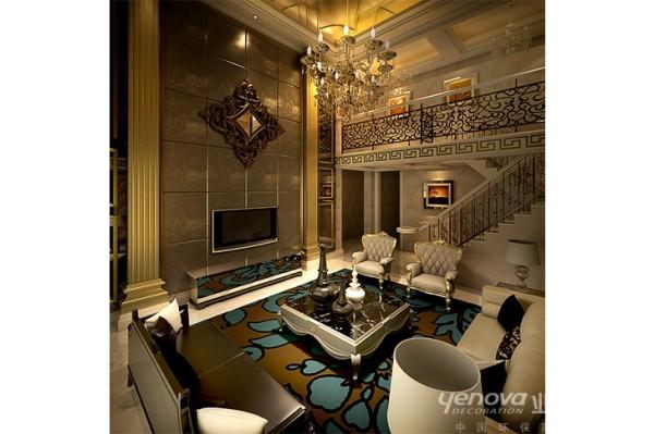 整体空间注重洛可可风格的装饰元素来完成整个空 间的设计构思,客厅主要空间区域使用了大量的特殊结 合光泽与高档装饰木材如:雕花线条、水晶玻璃来体现 法式风格的饱满、细腻、华丽的贵族气息。