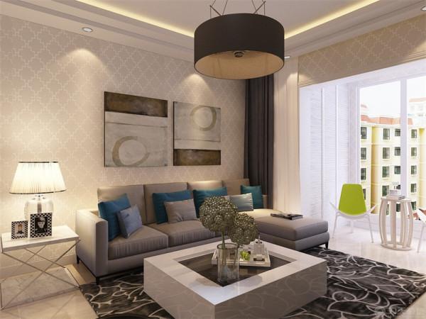 业主是一对二十多岁的年轻夫妇 所以定位为现代简约风格,在客厅我们选择了银光格子壁纸,电视背景墙选择偏现代的亮光壁纸搭配石膏板造型,