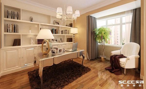 素雅的欧式家具置于书房中央,与一旁的白色金线书柜相映成趣,使书房在看起来明亮、又素雅、不夸张的配色也彰显出主人的处世哲学。