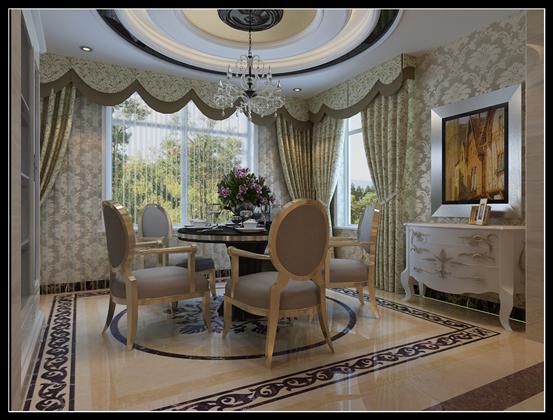 餐厅的设计高雅唯美,餐厅两侧带着窗户,整体的采光和通透度很好,圆形的吊顶加上水晶吊灯,华丽而不失庄严,圆形的餐桌靠近窗户带着些许英伦风情。