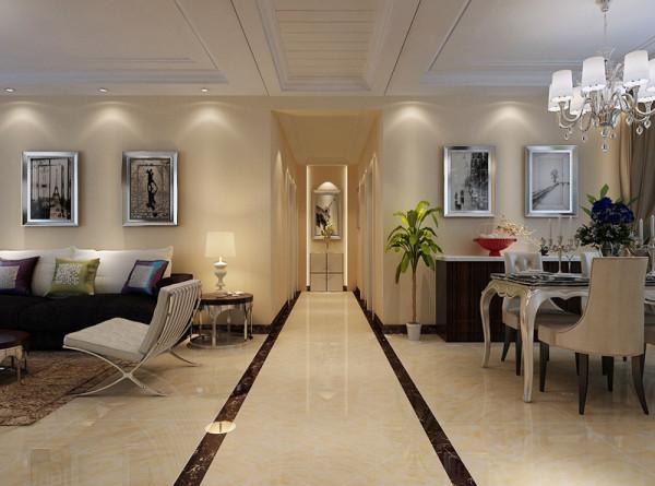 走廊整体装修设计效果展示,走廊地面用边界线做划分。