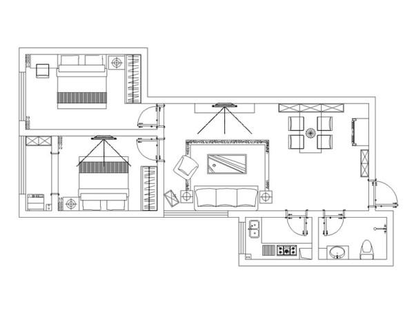 5.8万精装中岳大厦90平两居户型图