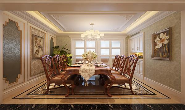 餐厅木椅在做旧、浸蚀等的点缀下,尽显美式古典之美,与墙壁上的装饰画相映成趣