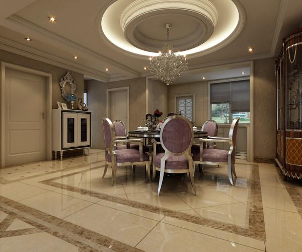 本案采用白的石膏来吊顶,层次感分明的吊灯,衬托出餐厅区域的高雅氛围,精致的餐桌与精美的高背餐椅,在空间的映衬下渲染着整个餐厅典雅高贵的氛围。