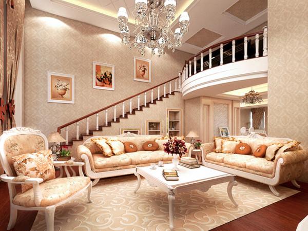 欧式复式装修装饰小资客厅图片