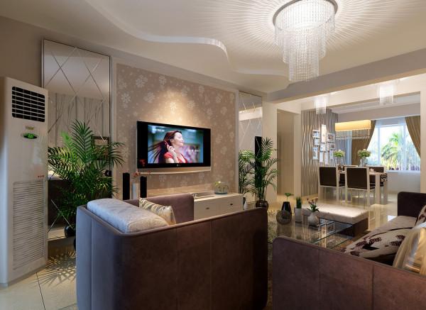 客厅:雪花图案的壁纸加上菱形的玻璃拼花,体现了温馨又有现代的时尚感。 亮点:顶面的弧线造型体现了活泼的一面。