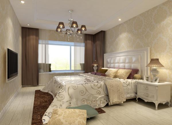 卧室:温馨明亮,简单舒适。 亮点:卧室温馨的质感与视感是中心,淡雅的壁纸、柔和的灯光、舒适的床品、每一样都是单品中的佼佼者,组合到一起体现却是一个开门就想让人进入梦乡的舒适空间。