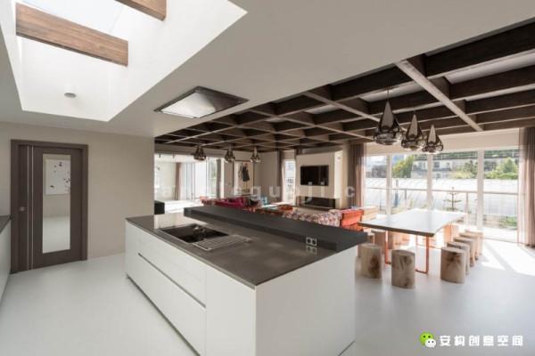 玻璃推拉门把人们带入到开放的接待间、厨房以及用餐区。