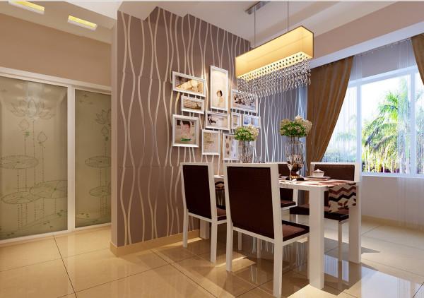 餐厅:咖色为主色调加上温馨的照片墙,使就餐环境更加的优雅。 亮点:根据不同的季节更换不同的主人照片,体现的主人的生活小情趣。