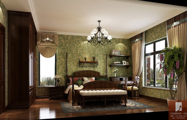 美式田园 高度国际装饰设计 卧室细节图