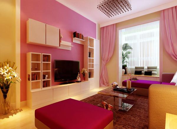 大气、简约、大胆的姹紫嫣红色彩为主基调,不要过多累赘复杂的造型,淡柠檬绿色的沙发背景墙如绿草地,画龙点睛的大红靠垫和粉色背景墙如盛开的桃花般