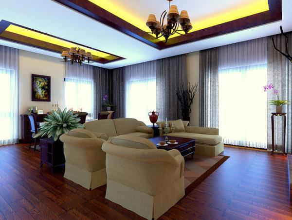设计说明:吊顶分开做的特点就是有效的将功能区分明,而且注重局部打光。整体空间地板选用木质纹理的棕红色木地板,搭配简约的垂顺窗帘,形成一种简约时尚又稳重的风格。