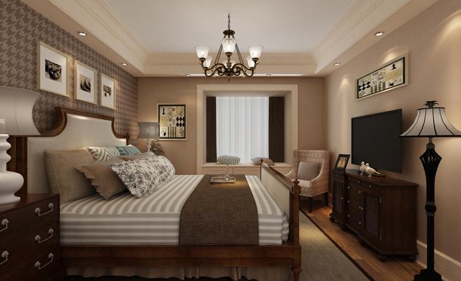 卧室图片来自四川岚庭装饰工程有限公司在现代美式风格装修案例的分享图片