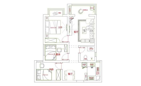 丹石街区89平小三房效果图集-户型图