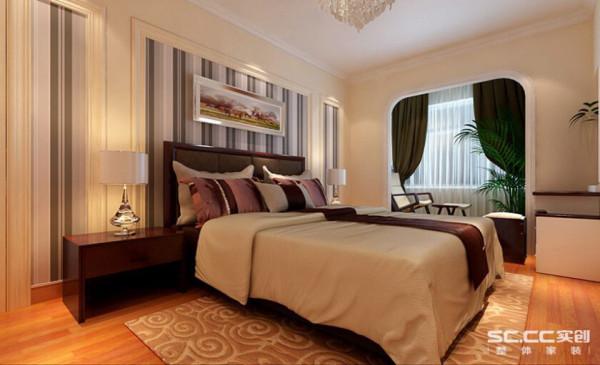轻松、简洁的环境能让人更加安逸的睡觉。阳台窗配上素白的纱帘,温馨美好,绝佳的采光让卧室中的下午茶时光更加惬意美好。卧室通过卧室对称式背景墙加装饰画,带给家人不尽的舒适触觉。