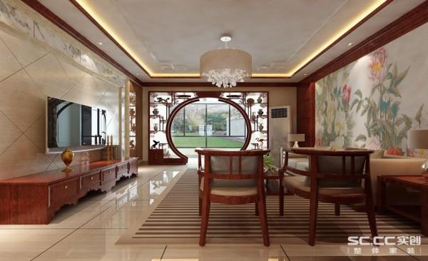用石材套线和大理石组成的电视墙把整个空间的档次提升了一个高度,沙发背景的壁画将儒雅的积淀作了低调的回应,使空间充满岁月和文艺的问道