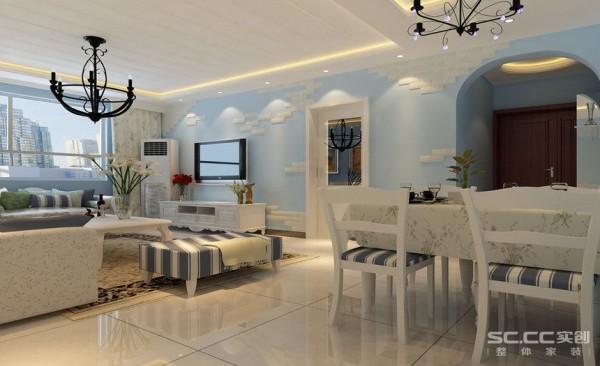 简单的灯池吊顶和标准的地中海蓝色搭配,配上纯色的沙发和白色的电视柜将整个空间很好的扩展,在浅色的地中海风格的装饰下,空间显得延伸并且浪漫