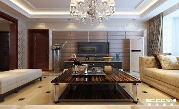 电视墙引用流行元素棕色软包,将室内空间感增强,重要的是软包其功能性得到释放,电视墙原本嘈杂的声音被软包吸收。